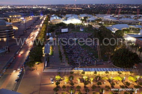Outdoor screening with inflatable movie screen