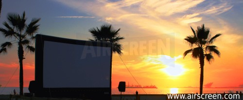 Inflatable movie screen at the beach