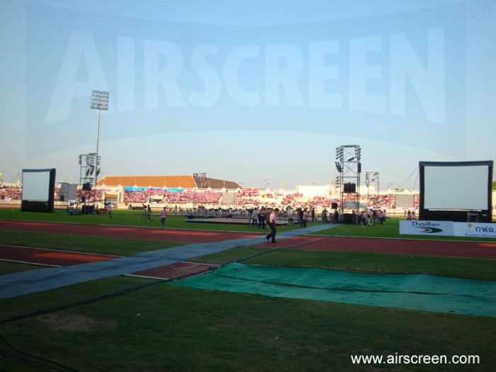 Movies shown on inflatable screens at Chiang Mai stadium