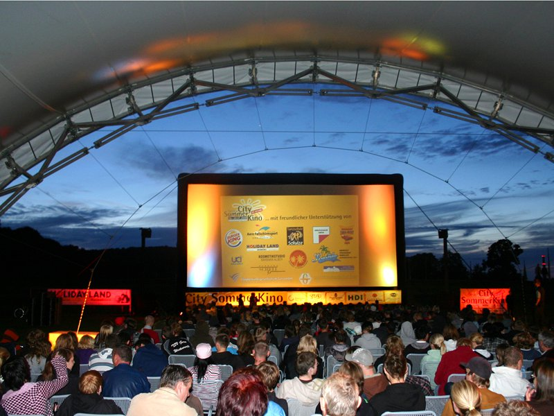 Outdoor cinema with an inflatable movie screen