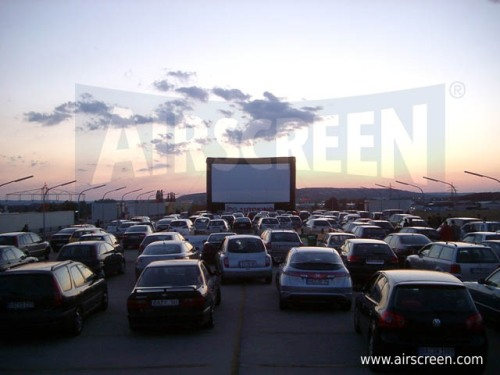 Drive-in cinema with inflatable movie screen