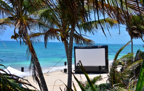 Cinema on the beach with an inflatable screen
