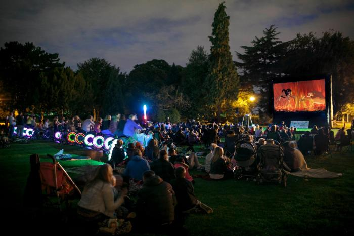 Inflatable movie screen powered by bicycles