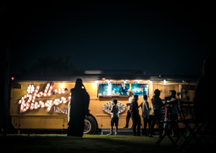 Food truck on outdoor movie night